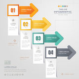 Infographics Arrow design template with icons, process, Stock Images