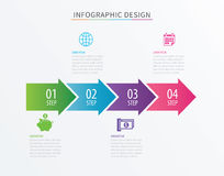 Infographics arrow number 4 step template. Vector Process chart Royalty Free Stock Images