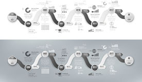 Infographics arrow timeline hystory template black and white Stock Images