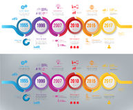 Infographics arrow timeline hystory template colorfull wobble line Royalty Free Stock Photo
