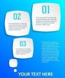 Infographics-Art-Plastik-Quadrat-mit-runden-blau Stockbild