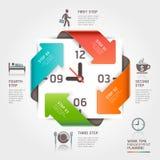 Infographics astratto della gestione di tempo del lavoro della freccia. Fotografia Stock
