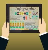 Infographics auf dem Tablet-PC u. den Händen Vektor Lizenzfreie Stockfotos