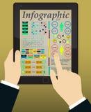 Infographics auf dem Tablet u. den Händen Vektor Stockbild