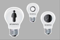 Infographics av produktivitet på lampor vektor illustrationer