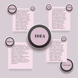 Infographics avec en rond et autocollants de rectangle dans des couleurs roses Images libres de droits