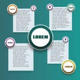 Infographics avec en rond et autocollants de rectangle dans différentes couleurs Images stock