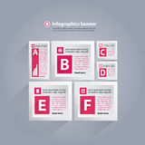 Infographics background with cubes and letters - pink and white Stock Photo