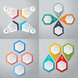 Infographics background with 4 option hexagon elements Royalty Free Stock Photo