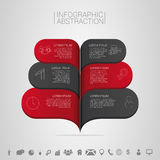 Infographics banner vector illustration with icons. Dark red and black bubble Stock Photo