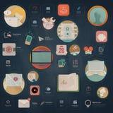 Infographics beståndsdelar: Samling av färgrika plana navigeringbeståndsdelar för sats UI med symboler för personlig portföljwebs Arkivbilder