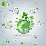 Infographics Bio Bubble. The illustration with green leaves and transparent bubbles flying around the green globe. Ecology and biology concept. Vector Stock Images