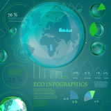 15 Infographics Bio World. The illustration of bio infographics with world map and atomic structure. Ecology set vector illustration