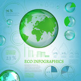 01 Infographics Bio World. The illustration of bio infographics with world map and atomic structure. Ecology set Royalty Free Illustration
