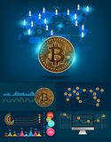 Infographics bitcoin digital currency futuristic technology Stock Photo