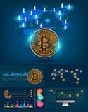 Infographics-bitcoin futuristische Technologie digitaler Währung Stockfoto
