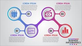 Infographics biznes 4 kroczy pojęcie szablon, edukacja, sieć projekt, sztandary, broszurki, numerowe opcje, diagram, ulotki ilustracja wektor