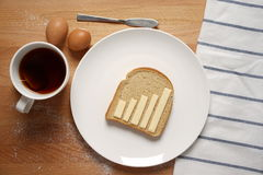Infographics on the breakfast table Royalty Free Stock Photo