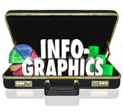 Infographics Briefcase Sales Presentation Important Data Informa. Infographics word in a briefcase to illustrate important data or information in a sales Stock Photo