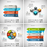 4 in 1 Infographics Bundle. Vector illustration of different business infographics. Vol.41 Stock Illustration