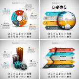 4 in 1 Infographics Bundle. Vector illustration of different business infographics. Vol.42 Stock Illustration