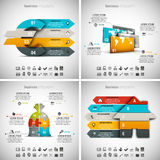 4 in 1 Infographics Bundle. Vector illustration of different business infographics. Vol.43 Royalty Free Illustration