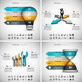 4 in 1 Infographics Bundle. Vector illustration of different business infographics. Vol.45 Stock Illustration
