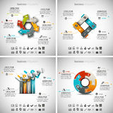 4 in 1 Infographics Bundle. Vector illustration of different business infographics. Vol.44 Vector Illustration