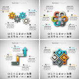4 in 1 Infographics Bundle. Vector illustration of different business infographics. Vol.48 Stock Illustration