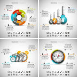 4 in 1  Infographics Bundle. Vector illustration of different business infographics. Vol.49 Stock Illustration