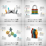 4 in 1 Infographics Bundle. Vector illustration of different business infographics. Vol.50 Royalty Free Illustration