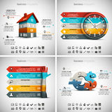 4 in 1 Infographics Bundle. Vector illustration of different business infographics. Vol.53 Royalty Free Illustration