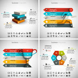 4 in 1 Infographics Bundle. Vector illustration of different business infographics. Vol.54 Stock Illustration