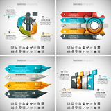 4 in 1 Infographics Bundle. Vector illustration of different business infographics. Vol.55 Stock Illustration