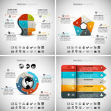 4 in 1 Infographics Bundle. Vector illustration of different business infographics. Vol.56 Stock Illustration