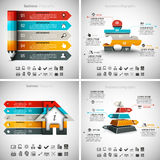 4 in 1 Infographics Bundle. Vector illustration of different business infographics. Vol.60 Stock Illustration