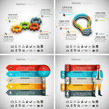 4 in 1 Infographics Bundle. Vector illustration of different business infographics. Vol.61 Royalty Free Illustration