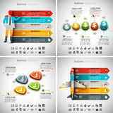 4 in 1 Infographics Bundle. Vector illustration of different business infographics. Vol.62 Stock Illustration