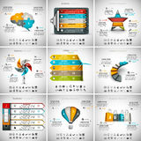 9 in 1 Infographics Bundle. Vector illustration of different infographic templates. 9 in 1 set Stock Illustration