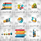 9 in 1 Infographics Bundle. Vector illustration of different infographic templates. 9 in 1 set Royalty Free Illustration