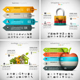 4 in 1  Infographics Bundle. Vector set of different infographics. Business, Ecology, Shopping and Education themes. There are 90 unique icons. Well layered and Stock Illustration