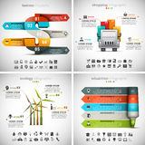 4 in 1 Infographics Bundle. Vector set od different infographics. Business, Ecology, Shopping and Education themes. There are 90 unique icons. Well layered and Vector Illustration