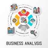 Infographics business analysis using colored icons. Financial growth graph. Vector illustration. Infographics business analysis using colored icons. Financial Stock Photos
