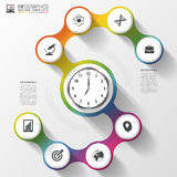 Infographics. Business Clock. Modern design template. Vector illustration Stock Image