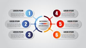 Infographics business 6 steps options concept horizontal timeline process chart template Moderne Fahne des Vektors Stockbilder