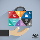 Infographics businessman hand hold business bag Stock Photography