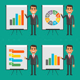 Infographics businessman indicates on flip chart Stock Image