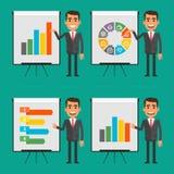 Infographics businessman indicates on flip chart Stock Image