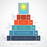 Infographics businessman steps up ladders template 5 positions Royalty Free Stock Photography