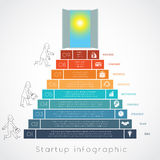 Infographics businessman steps up ladders template 9 positions Royalty Free Stock Photography